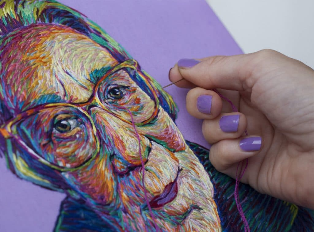 embroidered portrait by danielle clough via this is colossal on the happy list
