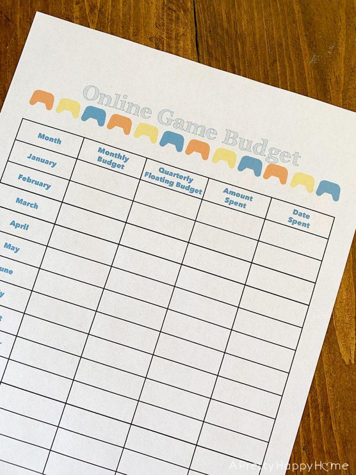 online game budget form for kids