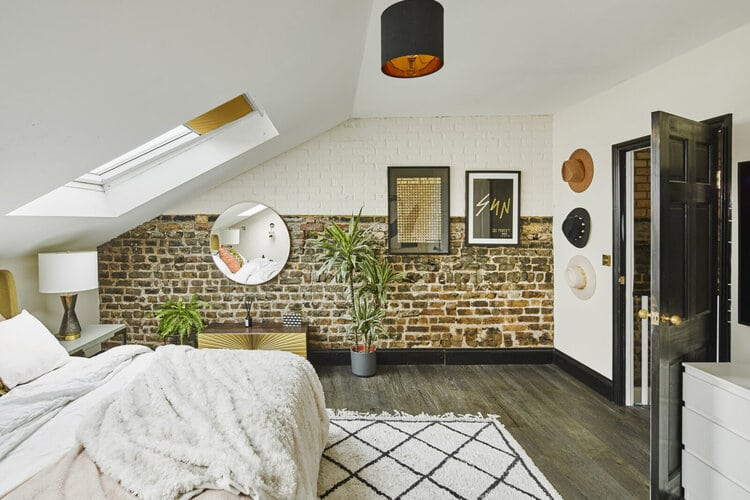 neutral home with brick wall via the nordroom on the happy list
