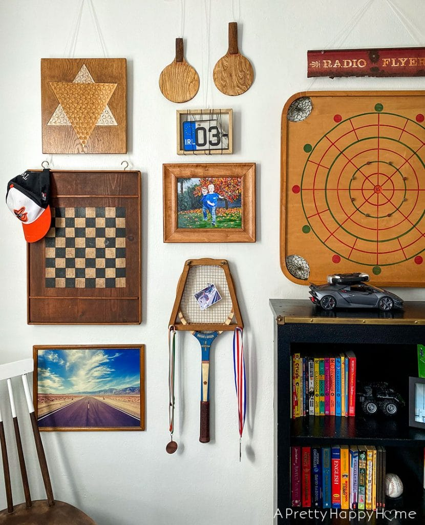 vintage game gallery wall small updates in the kids' bedrooms