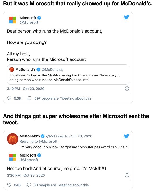 McDonald's and Microsoft Tweets via Tanks Good News on the Happy List
