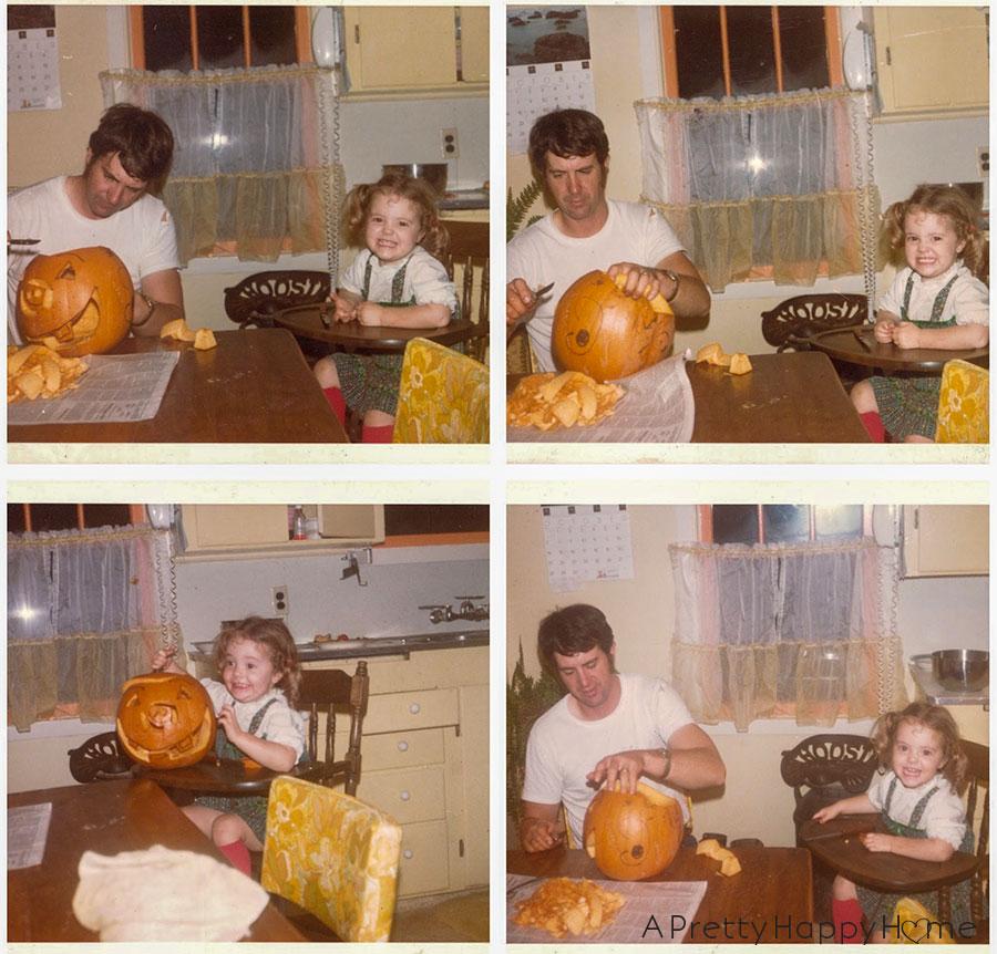 pumpkin cutting funny faces happy 75th dad