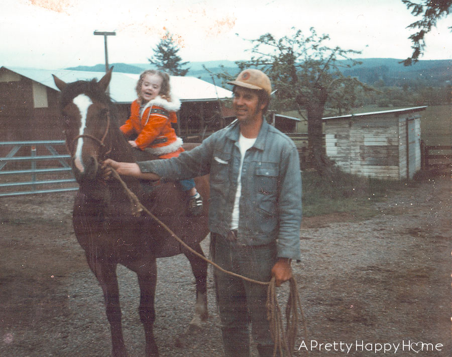 happy 75th dad girl on horse with dad