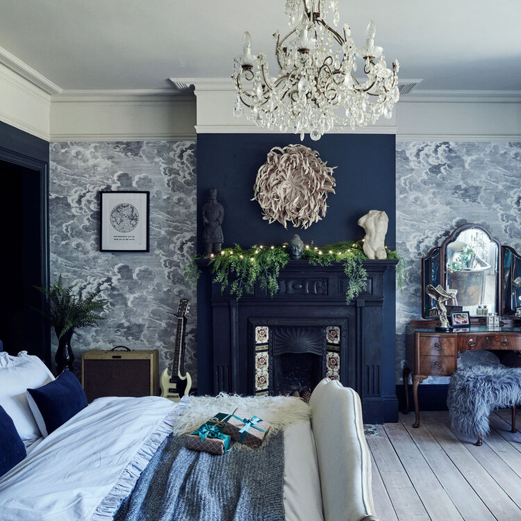blue christmas home in england via the nordroom on the happy list