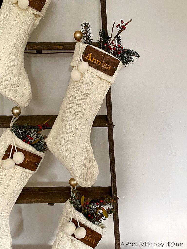 christmas stockings on a ladder christmas 2020