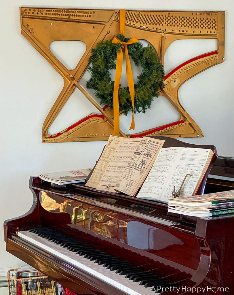 piano harp art with christmas wreath