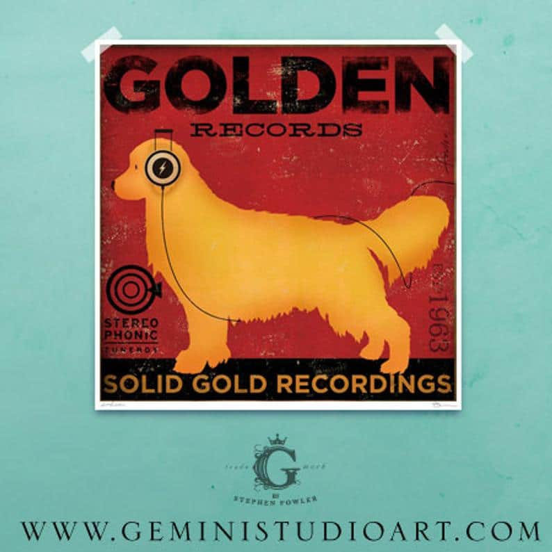 golden records art for gemini studio art on etsy