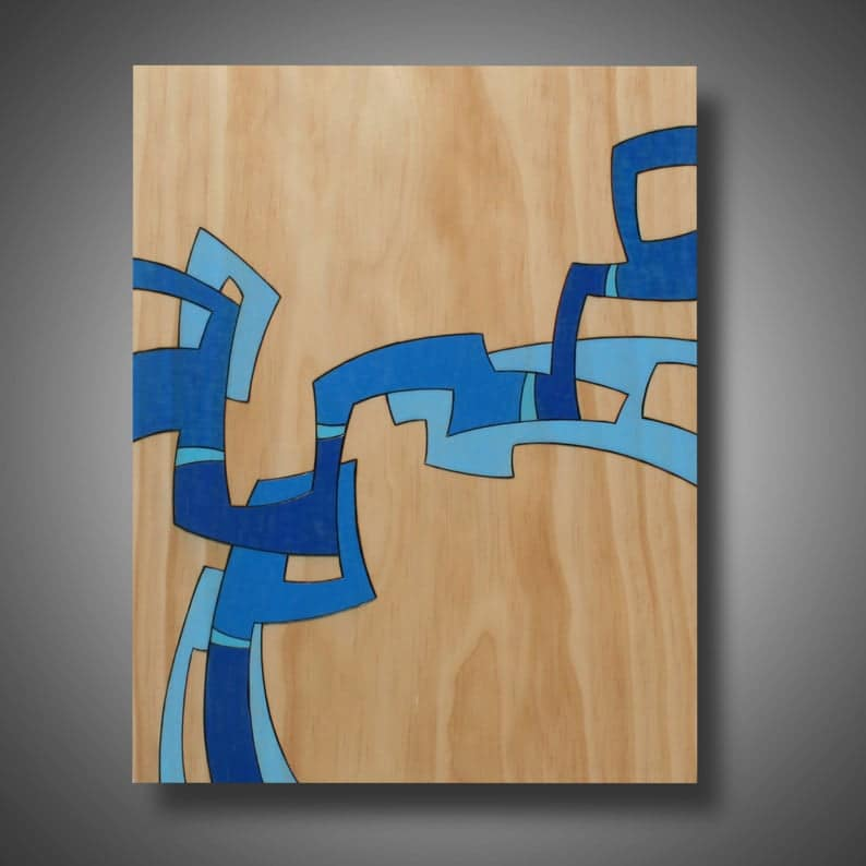 abstract art on pine from mud horse art on etsy