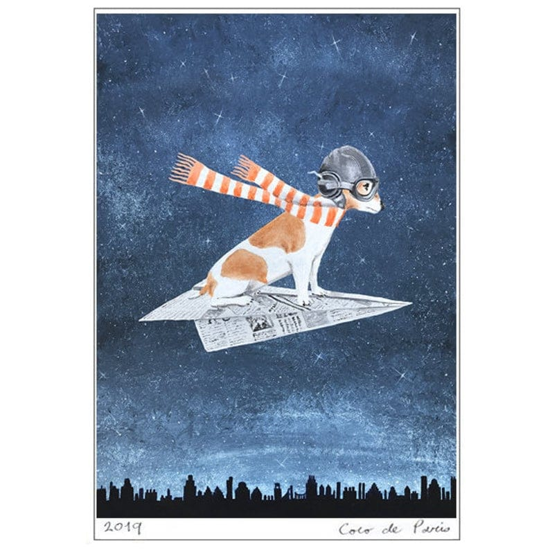 JACK Russell flying on paper airplane from cocktail zoo via etsy