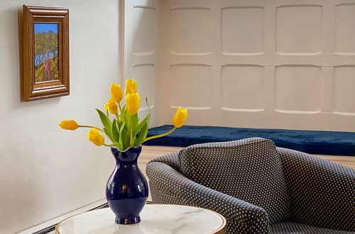 yellow tulips in living room