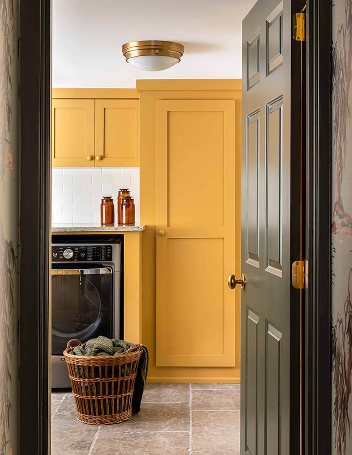 heidi Callier yellow laundry room via desire to inspire on the happy list