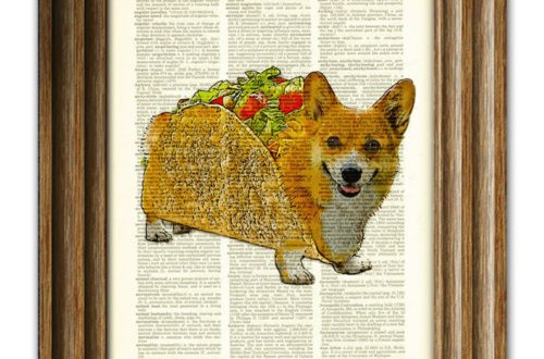 taco corgi from collageorama on etsy unique art for big kid spaces