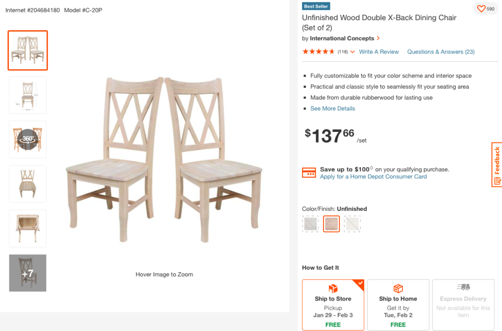 international concepts home depot unfinished chairs on the happy list