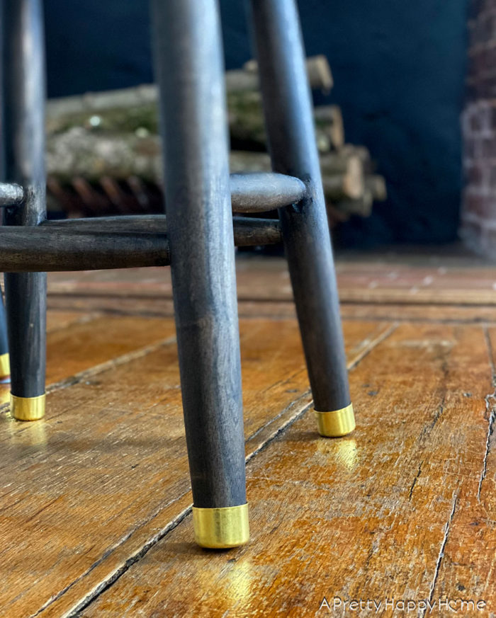 diy wood stool with brass leg tips