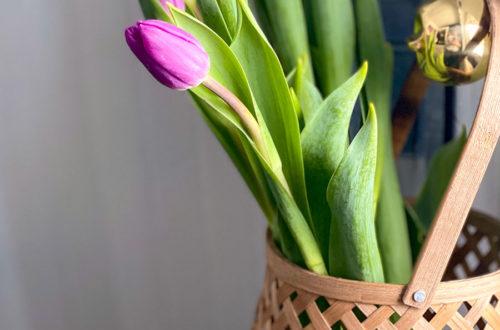 purple tulips in basket on the happy list