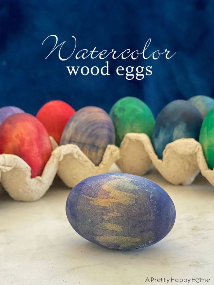 watercolor wood eggs