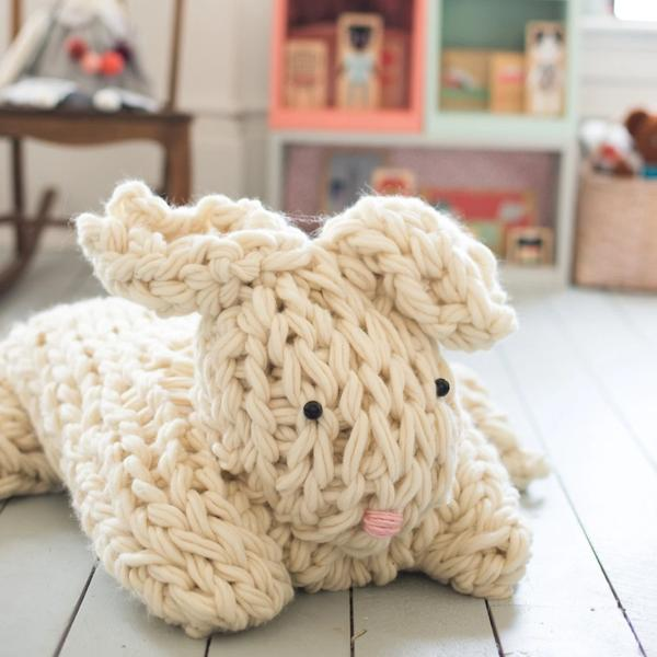 flax and twine arm knit bunny on the happy list