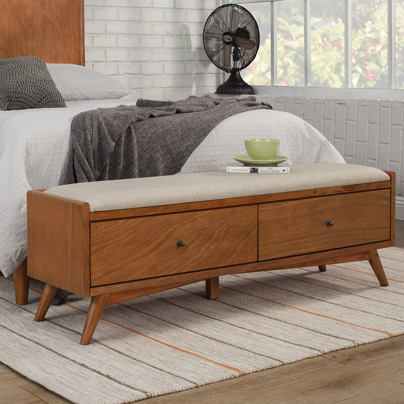 all modern williams upholstered bench with drawer