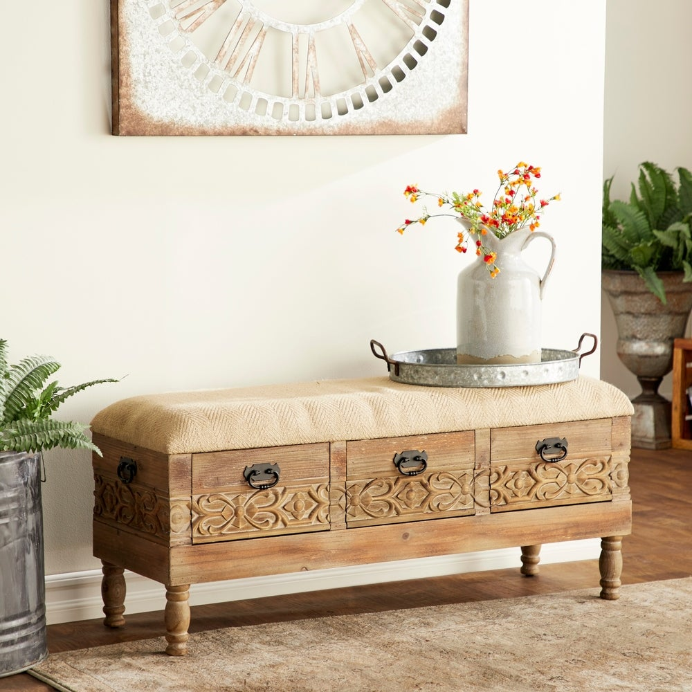 overstock rustic 3 drawer bench