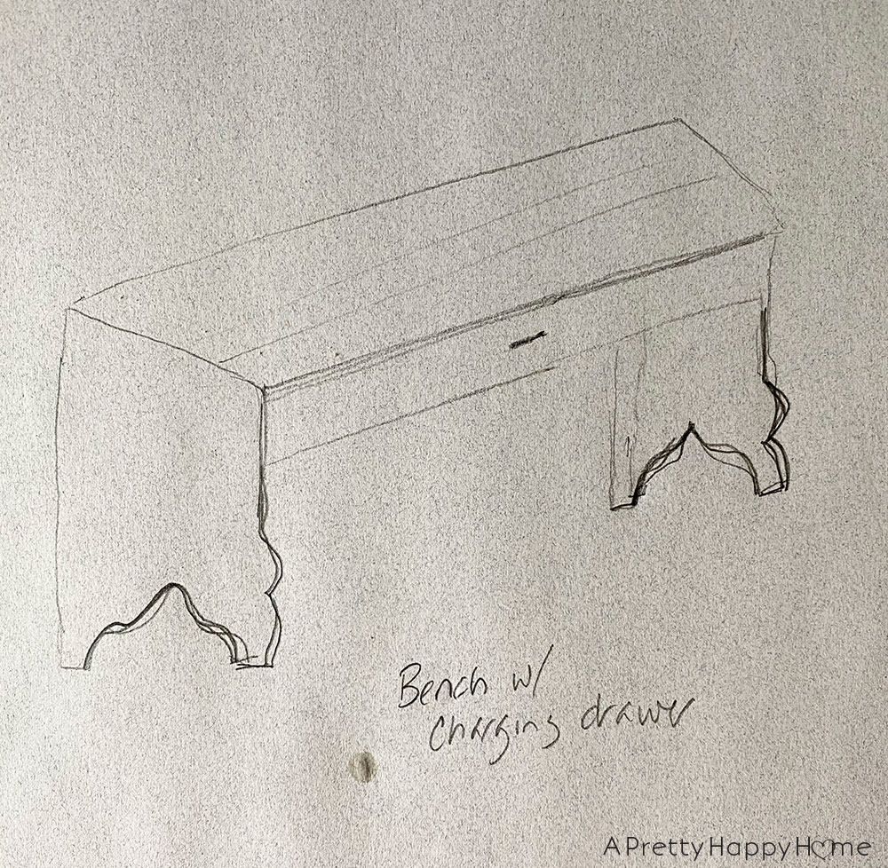 bench with charging drawer drawing