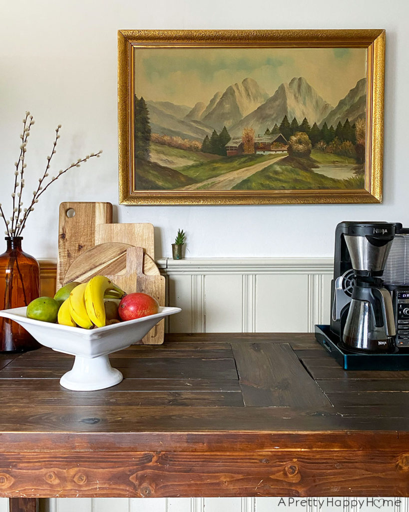 farmhouse kitchen with landscape art kitchen art