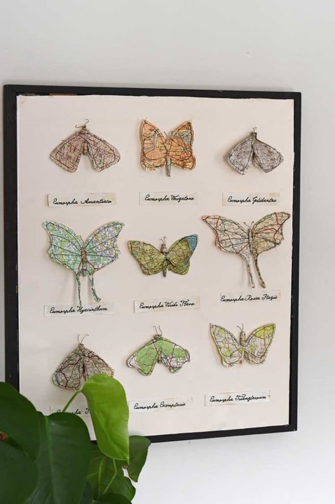 map paper moths from pillar box blue on the happy list