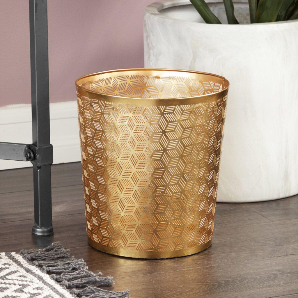 gold lattice waste basket from wayfair