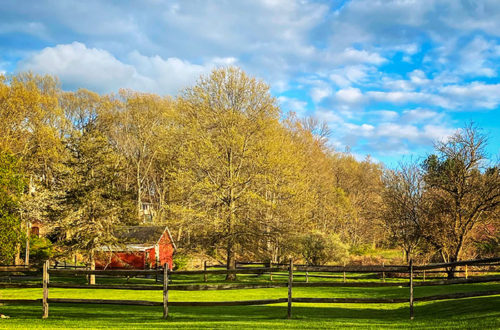barn and split rail fence new jersey spring 2021