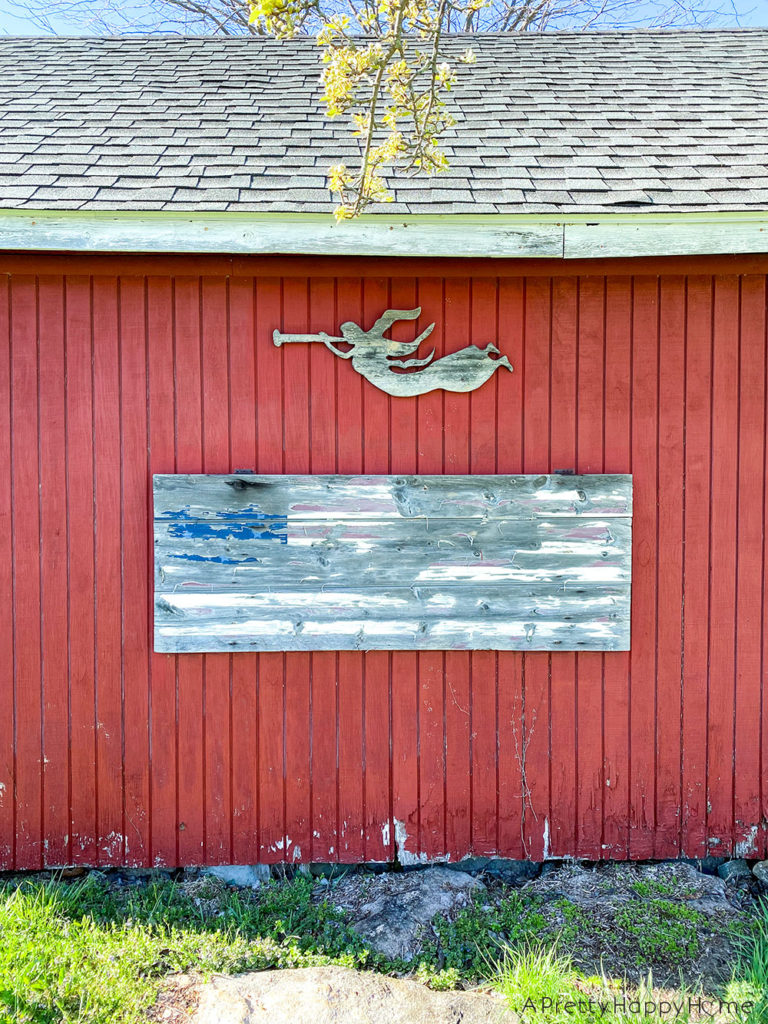 Wood Flag Painted on an Old Door