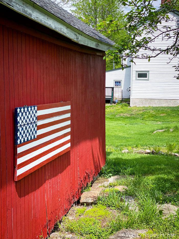 wood flag american flag on wood door