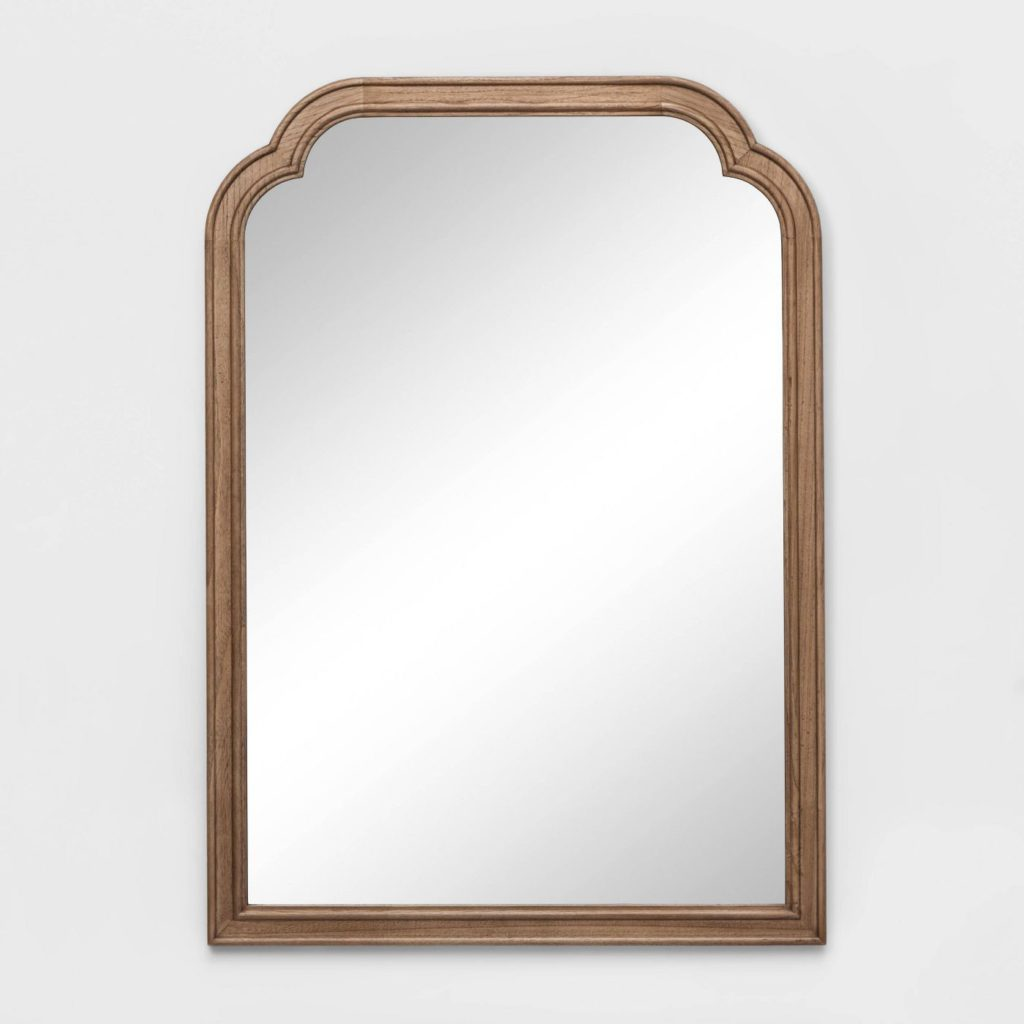 target wood arched mirror