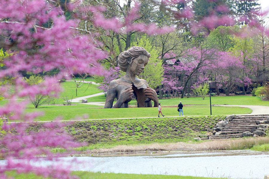 outdoor sculpture daniel popper morton arboretum on the happy list