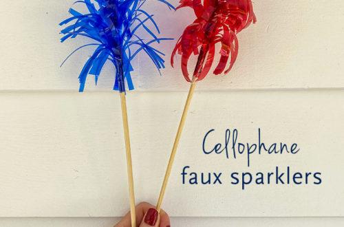 cellophane faux sparklers or mega frill picks