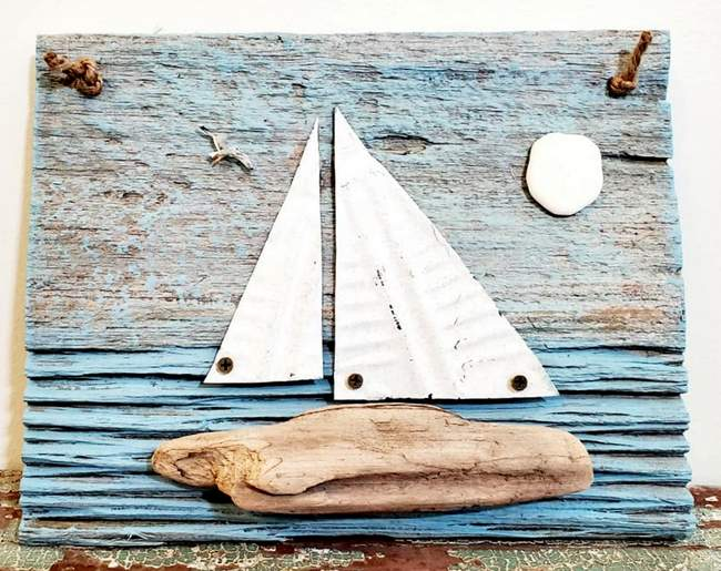 junky encores driftwood sail boat via facebook on the happy list