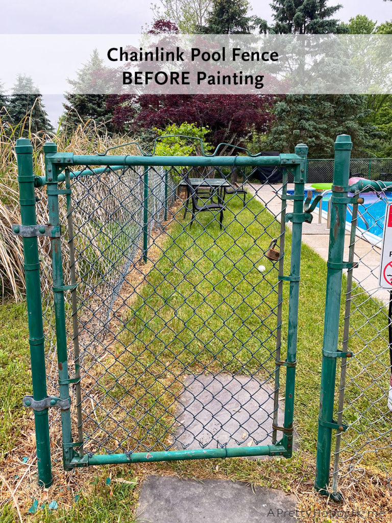 chainlink fence before painting outdoor project progress