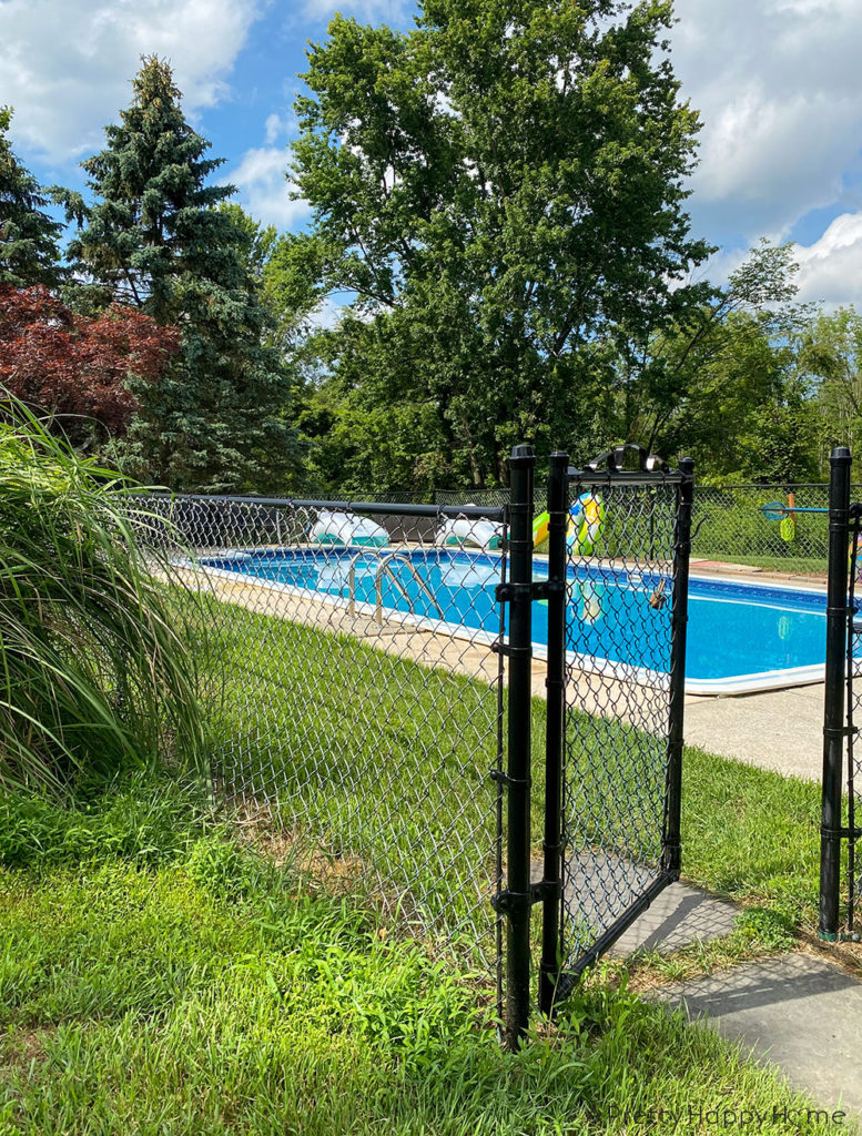 chainlink fence after painting outdoor project progress