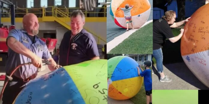 giant beach ball in wisconsin via good news network on the happy list