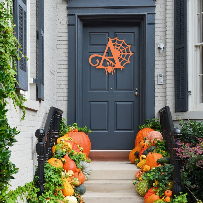 48 Hour Monogram via Etsy Halloween Monogram Wreath 13 Fall Wreaths