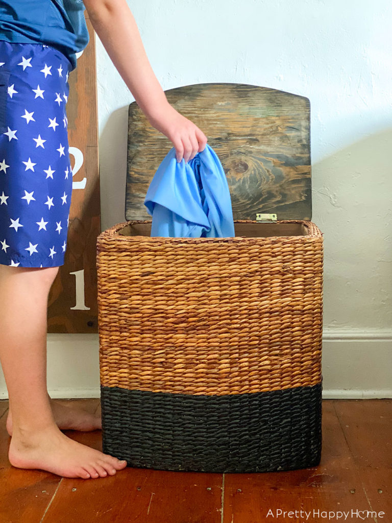kids doing laundry laundry hamper makeover with wood lid