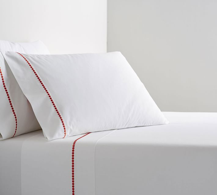 pottery barn pearl organic embroidered pillowcases