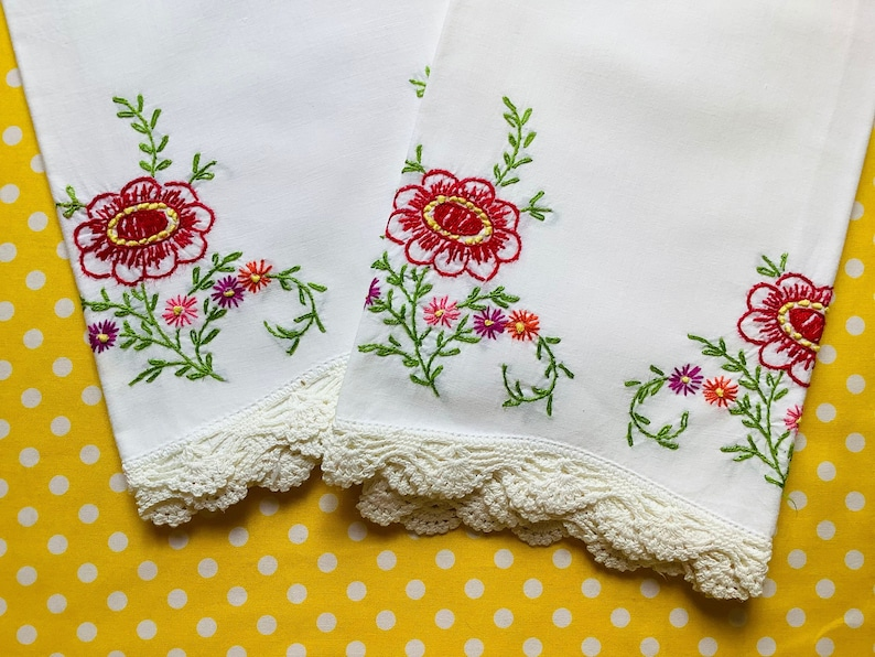 vintage embroidered pillowcase Mrs Petunia shop on Etsy