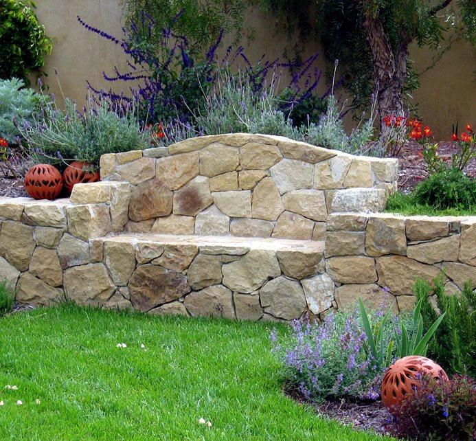 grace design associates built in stone bench ideas