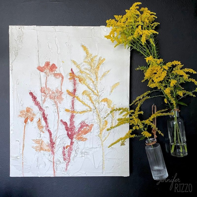 pressed flower abstract art in sparkle jennifer rizzo on the happy list